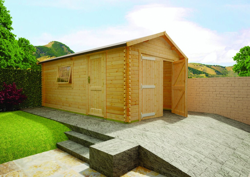Warwick Garage Log Cabin by Island Sheds
